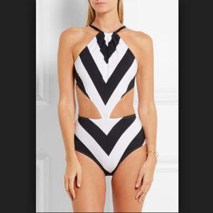 NWT Emma Pake Stella Swimsuit black & white stripe